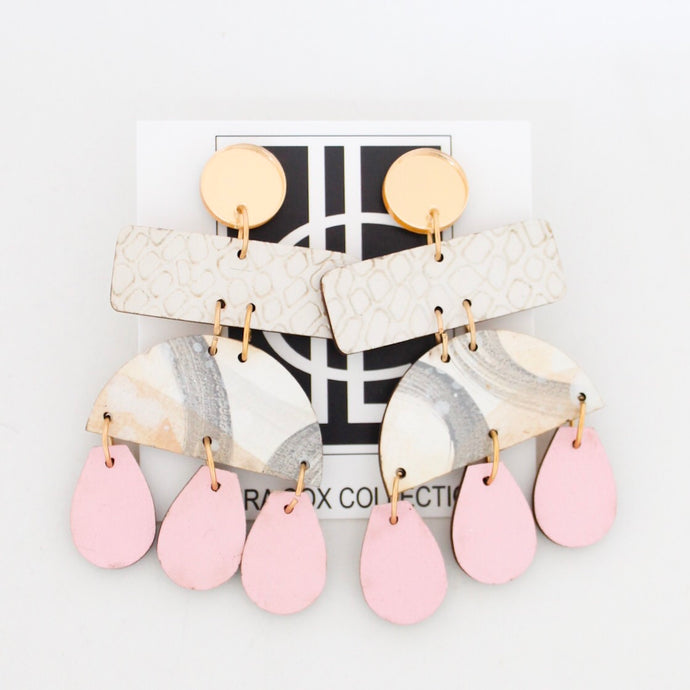 Earring of the Month: Cream and Blush Hand Painted Earrings