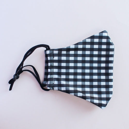 Black and White Gingham Adjustable Face Mask