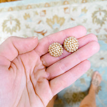 Load image into Gallery viewer, Taupe Beaded Studs