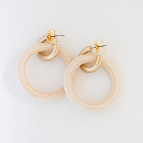 Natural Wood and Gold Hoops