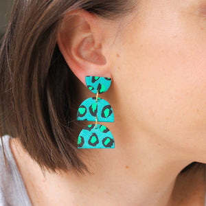 Green and Teal Leopard Geometric Earrings