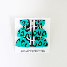 Load image into Gallery viewer, Green and Teal Leopard Geometric Earrings