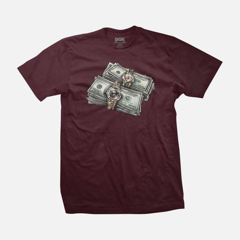 DGK ON TIME BURGANDY SHIRT
