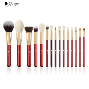 DUCARE - Set Makeup Brush golden Red (15 pièces)