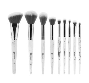 BH COSMETICS - Brushes White Marble avec support (9 pcs)