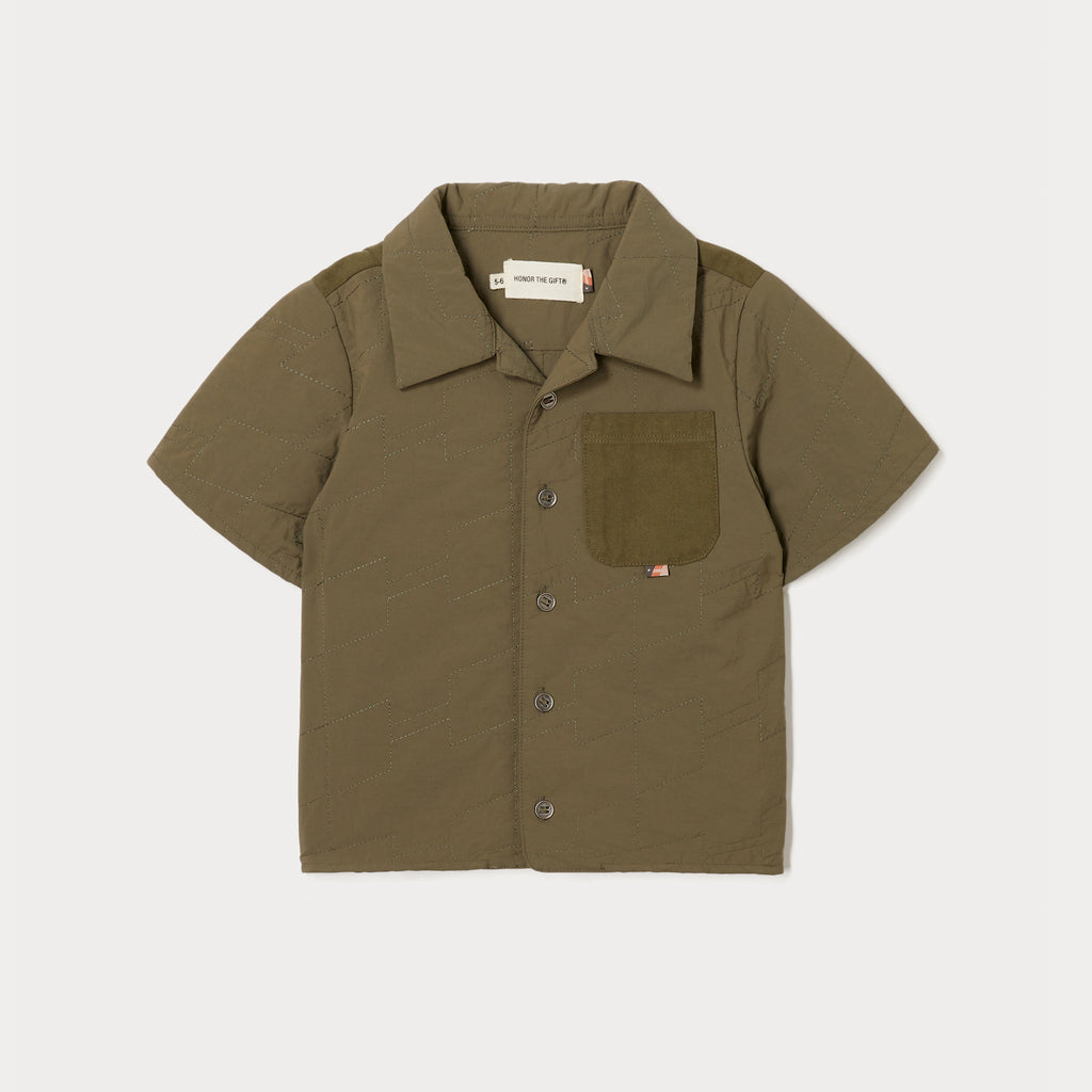 Kids Squadron Camp Button Up - Army