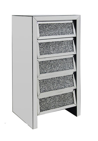 Crushed Glass 5 Drawer Tallboy Crushed Crystal