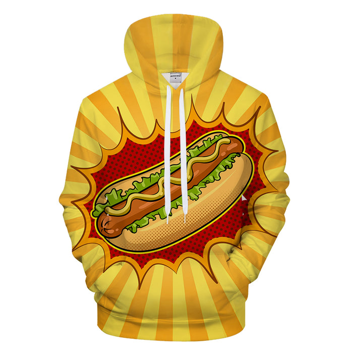 Bright Hot Dog 3D - Sweatshirt, Hoodie, Pullover