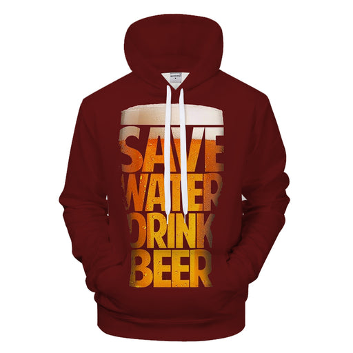 Save Water Drink Beer 3D Sweatshirt Hoodie Pullover
