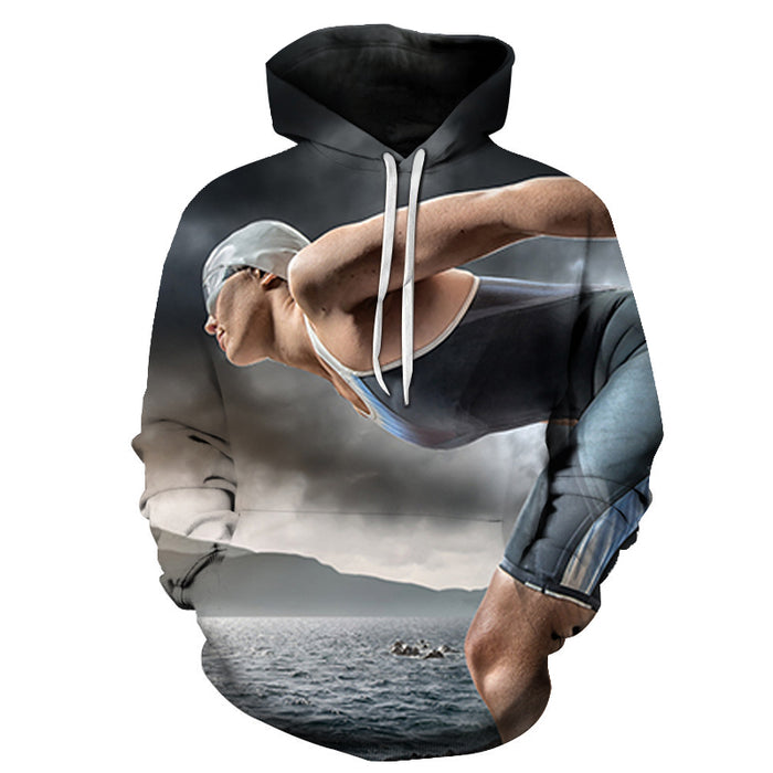 Swimming Outdoors 3D - Sweatshirt, Hoodie, Pullover