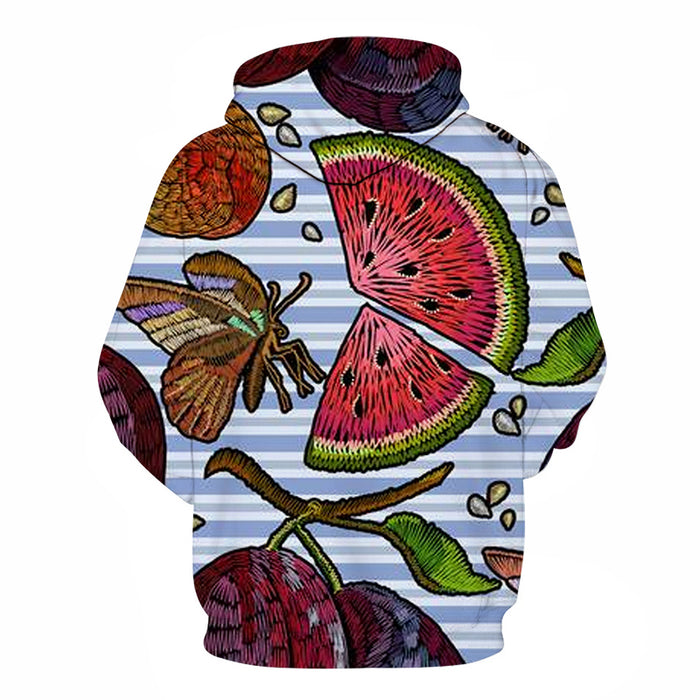 Fruits & Stripes 3D Sweatshirt Hoodie Pullover
