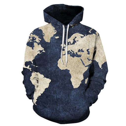 World Map Denim- Blue 3D - Sweatshirt, Hoodie, Pullover