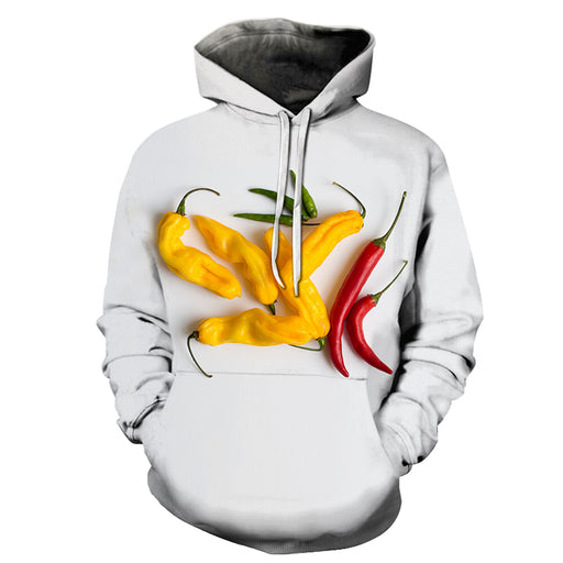 Yellow Red Chillis 3D Hoodie Sweatshirt Pullover