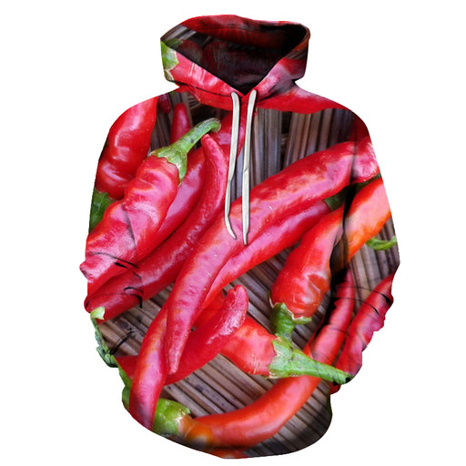 Red Chilli All Over 3D Hoodie Sweatshirt Pullover