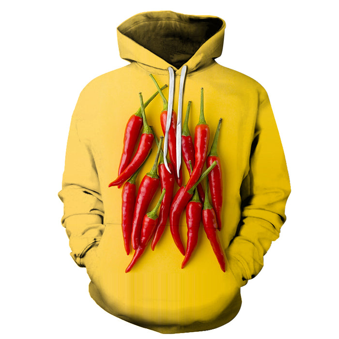 Red Chilli Yellow 3D Hoodie Sweatshirt Pullover