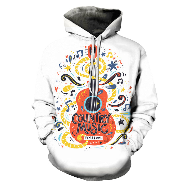 Orange Guitar Country Music White 3D - Sweatshirt, Hoodie, Pullover