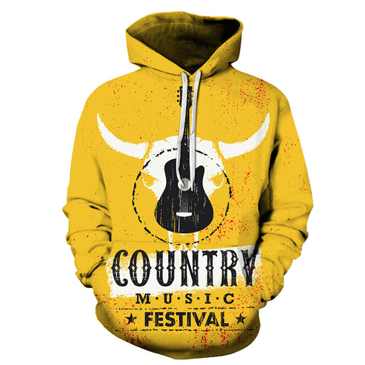 Bull Country Music Yellow 3D - Sweatshirt, Hoodie, Pullover