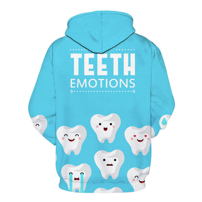 Teeth Emotions Dentist 3D Hoodie Sweatshirt Pullover