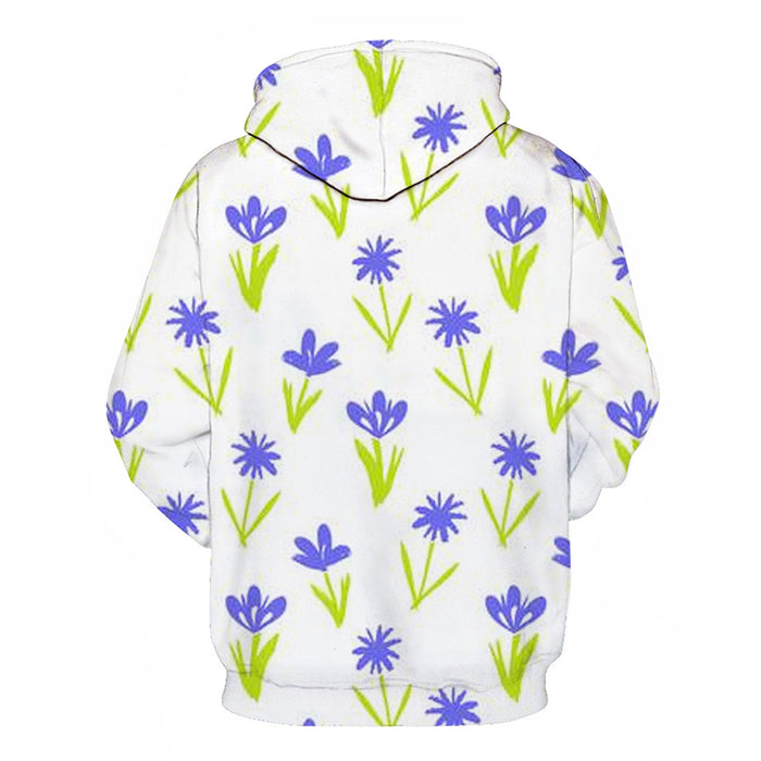 Purple Flowers White 3D Sweatshirt Hoodie Pullover