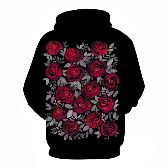 Rose Flower Black 3D Sweatshirt Hoodie Pullover