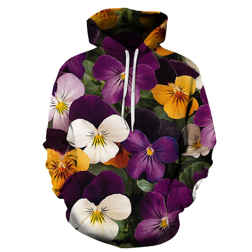 Purple Yellow Floral 3D Sweatshirt Hoodie Pullover