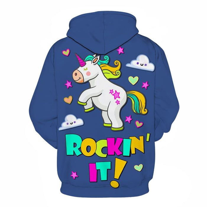 Blue Unicorn Cartoon 3D - Sweatshirt, Hoodie, Pullover