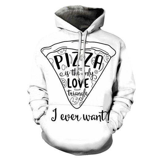 Love Triangle Pizza 3D Hoodie Sweatshirt Pullover