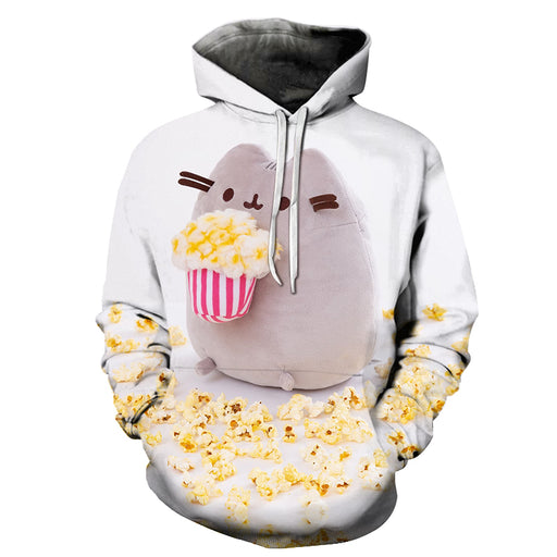 Grey Color Popcorn 3D Hoodie Sweatshirt Pullover