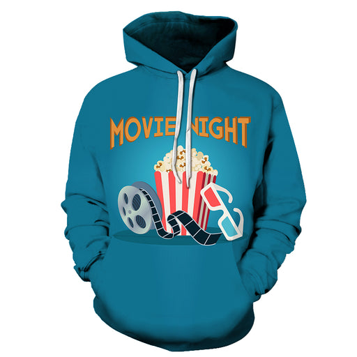Movie Night Popcorn 3D Hoodie Sweatshirt Pullover