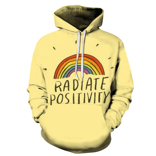 Rainbow Positive Quote 3D Hoodie Sweatshirt Pullover