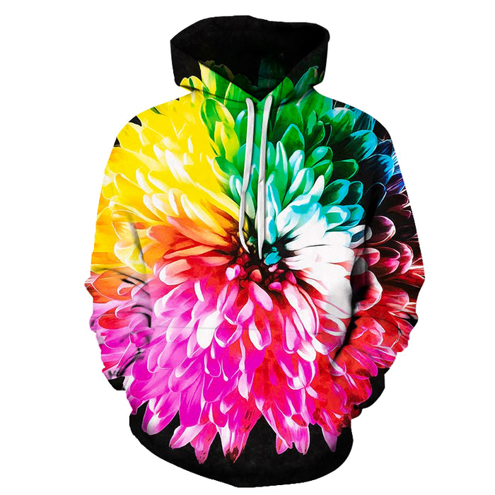Colorful Rainbow Flower 3D Hoodie Sweatshirt Pullover