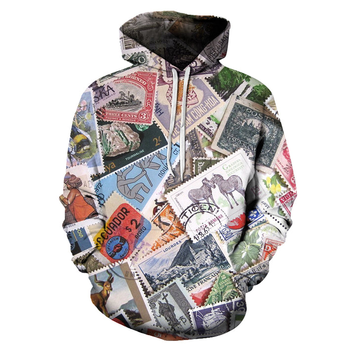 Stamps All-over 3D Hoodie Sweatshirt Pullover