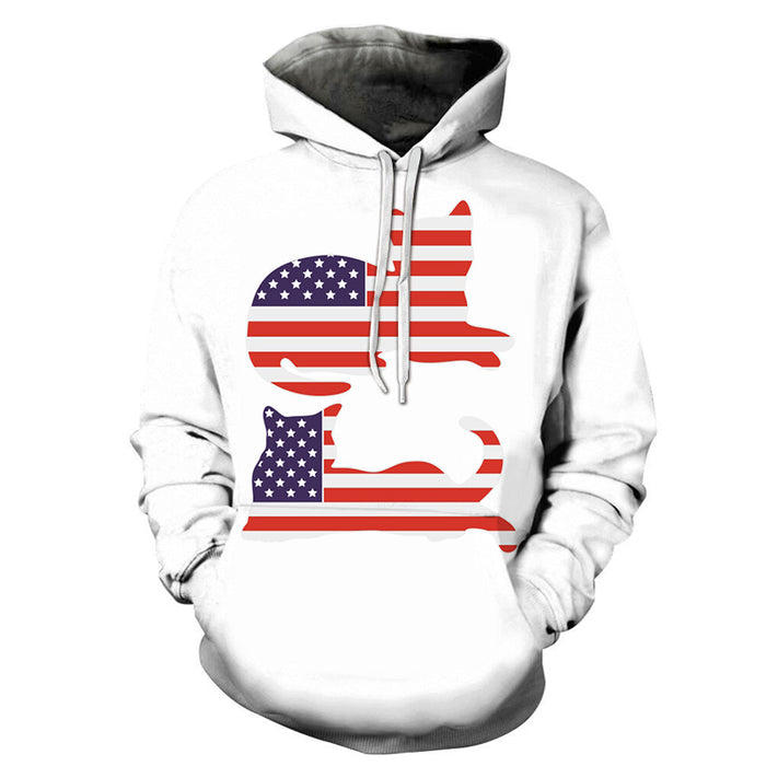 Two Cats American Flag 3D - Sweatshirt, Hoodie, Pullover