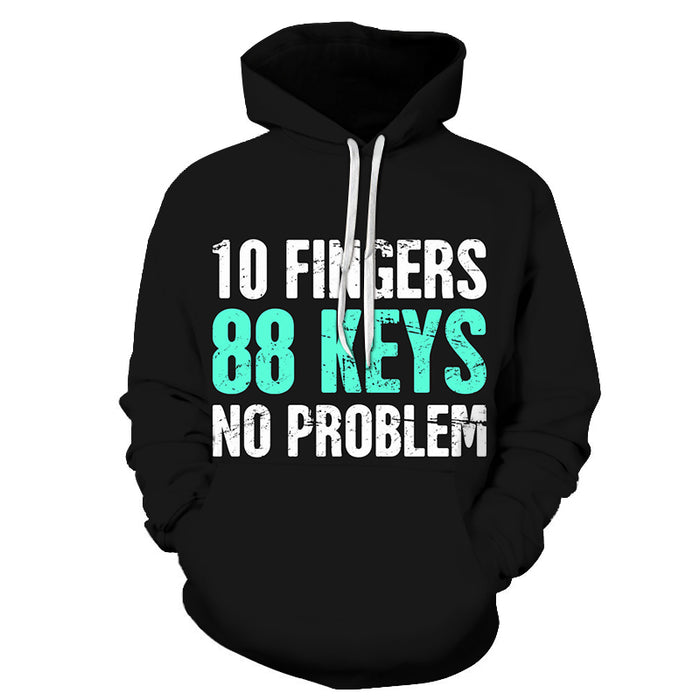 3D 10 Fingers, 88 Keys No Problem - Hoodie, Sweatshirt, Pullover