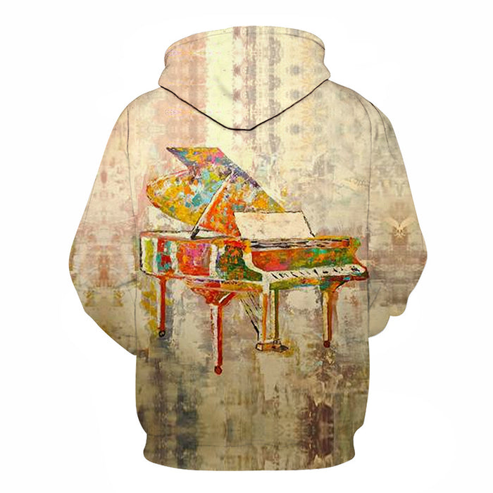 3D Colorful Painted Piano - Hoodie, Sweatshirt, Pullover
