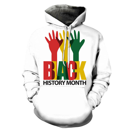 White Hand Print Black History Month 3D - Sweatshirt, Hoodie, Pullover