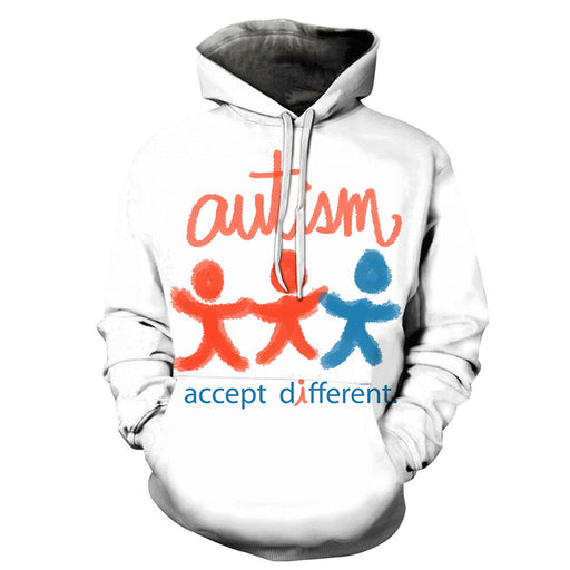 Autism-Accept Different 3D - Sweatshirt, Hoodie, Pullover - Support Autism Awareness Movement