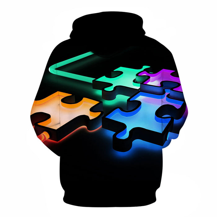 Digital Autism Puzzle 3D - Sweatshirt, Hoodie, Pullover -  Support Autism Awareness Movement
