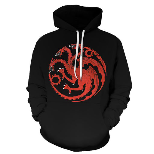 GOT Inspired-The Red Dragon - 3D Hoodie Sweatshirt Pullover