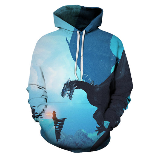 GOT Inspired - Blue Dragons- 3D Hoodie Sweatshirt Pullover