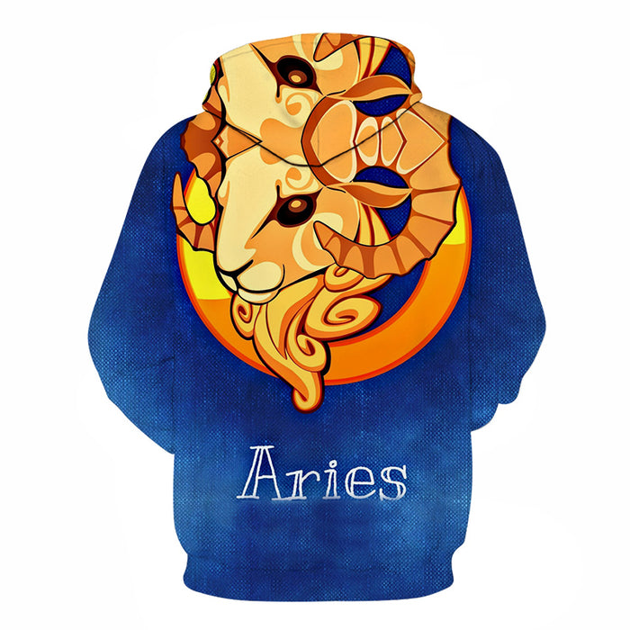 The Blue Aries - March 21 to April 20 3D Sweatshirt Hoodie Pullover