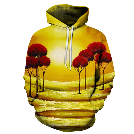 The Red Trees Oil Painting 3D - Sweatshirt, Hoodie, Pullover