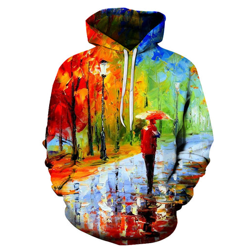 Man in Rain Oil Painting 3D - Sweatshirt, Hoodie, Pullover