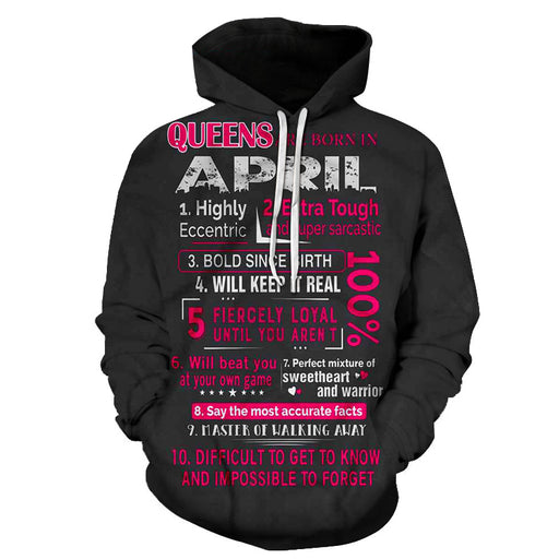 April Born Girls Personality 3D - Sweatshirt, Hoodie, Pullover