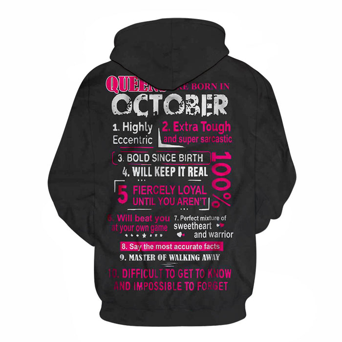 Girls born in October Personality 3D - Sweatshirt, Hoodie, Pullover