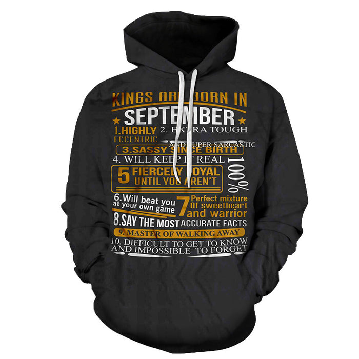 Kings are born in September Personality 3D - Sweatshirt, Hoodie, Pullover