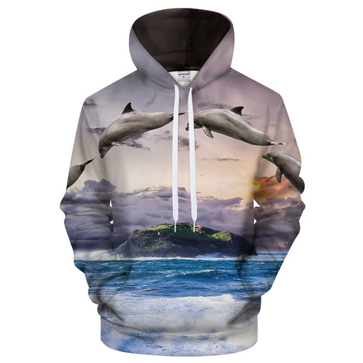 Dolphin Sunset 3D Sweatshirt Hoodie Pullover