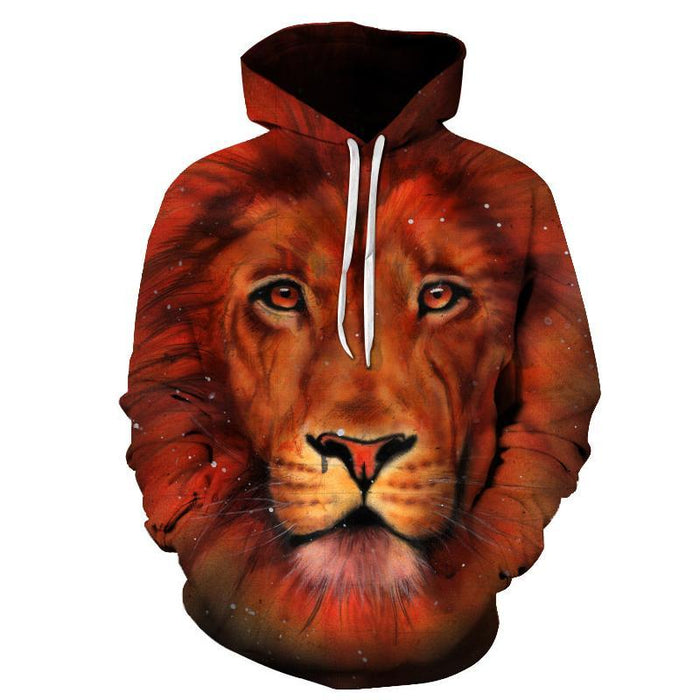 Orange Lion 3D Sweatshirt Hoodie Pullover