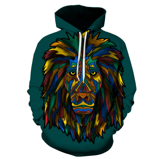 Sad Colorful Lion 3D Sweatshirt Hoodie Pullover