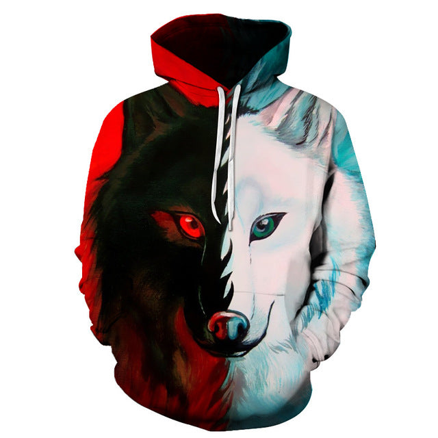 Contrast Red and White Wolf Sweatshirt Hoodie Pullover